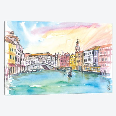 Venice Rialto And Grand Canal At Sunset Canvas Print #MMB306} by Markus & Martina Bleichner Art Print