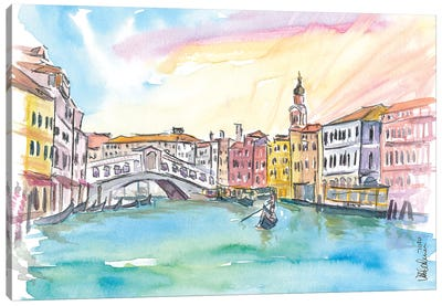 Venice Rialto And Grand Canal At Sunset Canvas Art Print