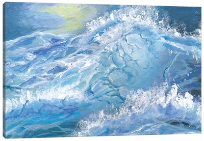 Giant Blue Waves In The Ocean With Sea Spray Canvas Art Print