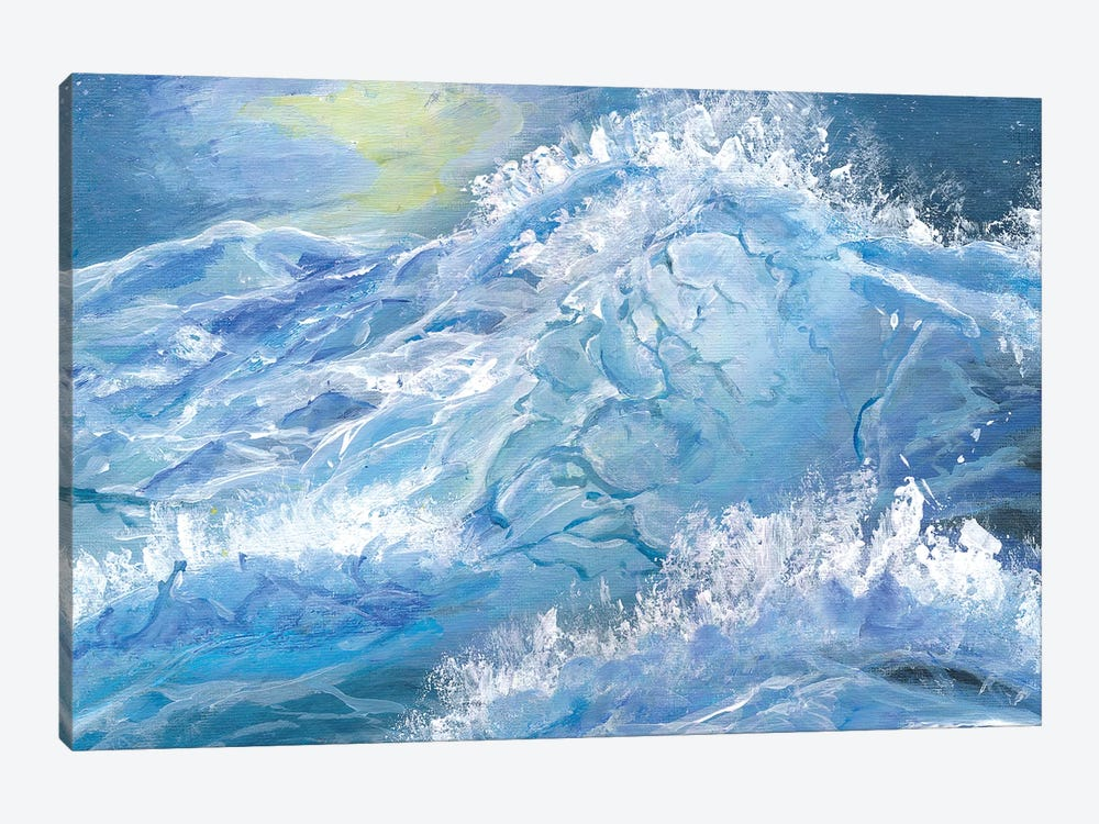 Giant Blue Waves In The Ocean With Sea Spray by Markus & Martina Bleichner 1-piece Canvas Wall Art