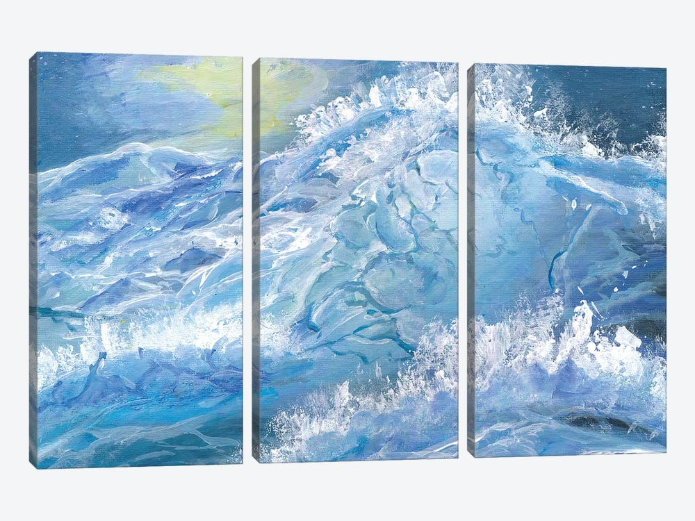 Giant Blue Waves In The Ocean With Sea Spray by Markus & Martina Bleichner 3-piece Canvas Art