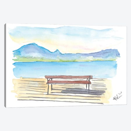 Full Tranquility With The Zen Bench On The Lake With Mountains Canvas Print #MMB308} by Markus & Martina Bleichner Canvas Artwork