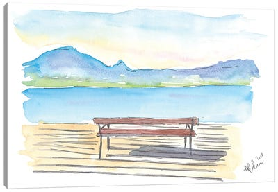 Full Tranquility With The Zen Bench On The Lake With Mountains Canvas Art Print