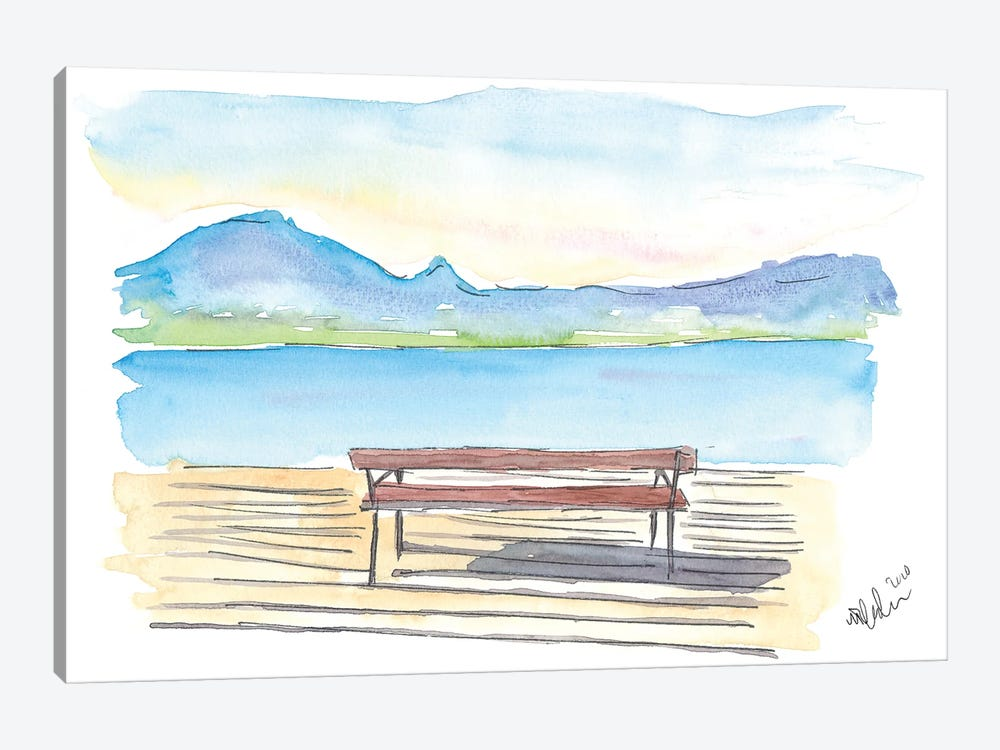 Full Tranquility With The Zen Bench On The Lake With Mountains by Markus & Martina Bleichner 1-piece Art Print