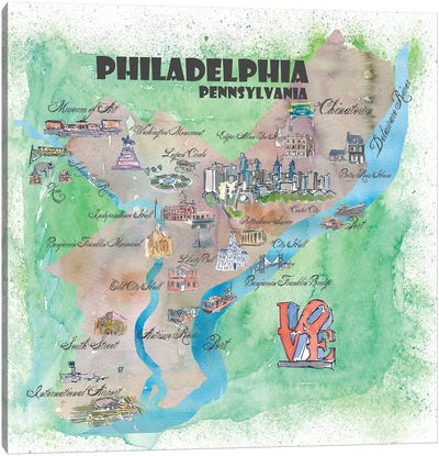 Philadelphia, Pennsylvania Travel Poster Canvas Art Print