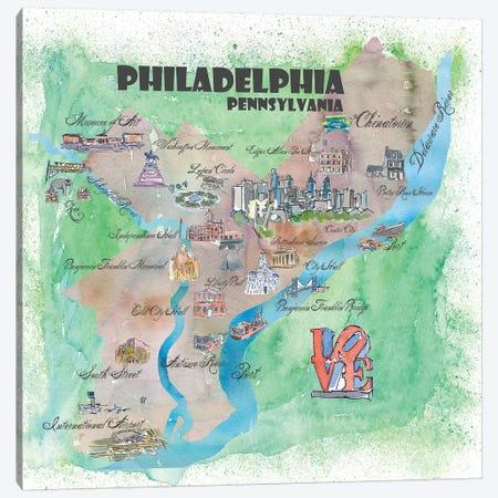 Philadelphia, Pennsylvania Travel Poster Canvas Print #MMB30} by Markus & Martina Bleichner Canvas Artwork