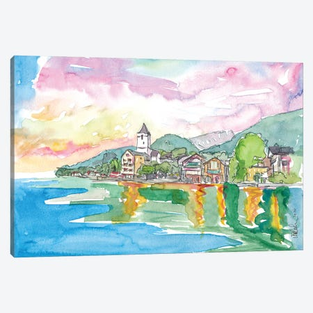 St Wolfgang Lake And Famous Waterfront With Mountain View In Austria Canvas Print #MMB311} by Markus & Martina Bleichner Art Print