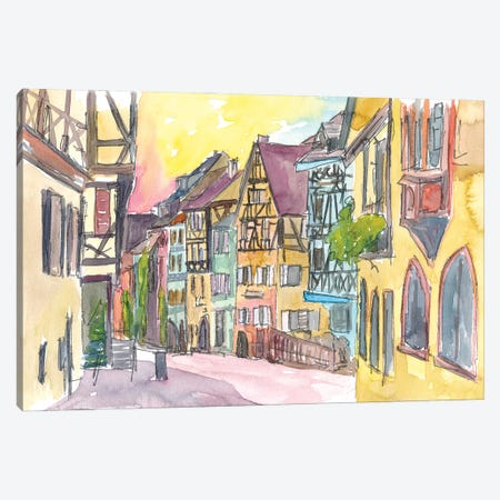 Pure Romantic In Historical Riquewihr France Old Town Street Scene Canvas Print #MMB313} by Markus & Martina Bleichner Canvas Print