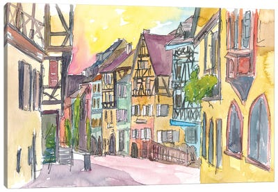 Pure Romantic In Historical Riquewihr France Old Town Street Scene Canvas Art Print