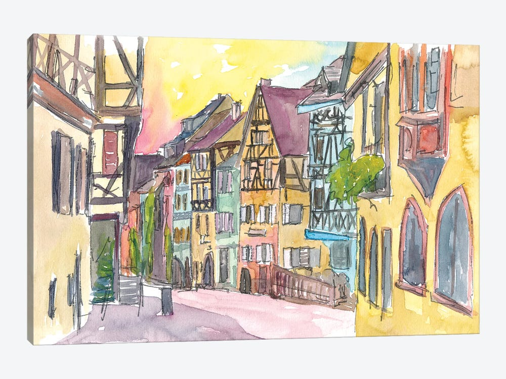 Pure Romantic In Historical Riquewihr France Old Town Street Scene by Markus & Martina Bleichner 1-piece Canvas Print