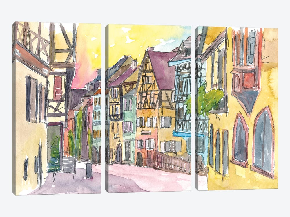 Pure Romantic In Historical Riquewihr France Old Town Street Scene by Markus & Martina Bleichner 3-piece Art Print