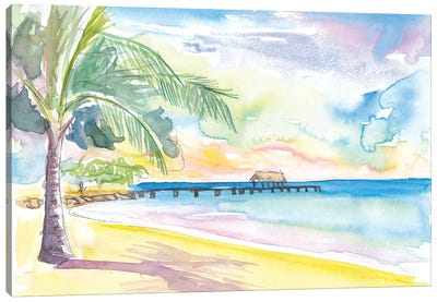 Lonely Vibes In Pigeon Point Beach Trinidad Tobago Canvas Art Print