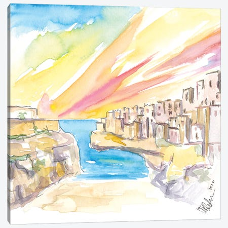 Polignano Wonderful Morning In Southern Italy Canvas Print #MMB315} by Markus & Martina Bleichner Canvas Wall Art