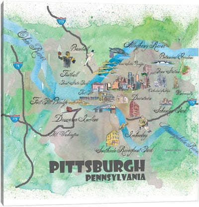 Pittsburgh, Pennsylvania Travel Poster Canvas Art Print