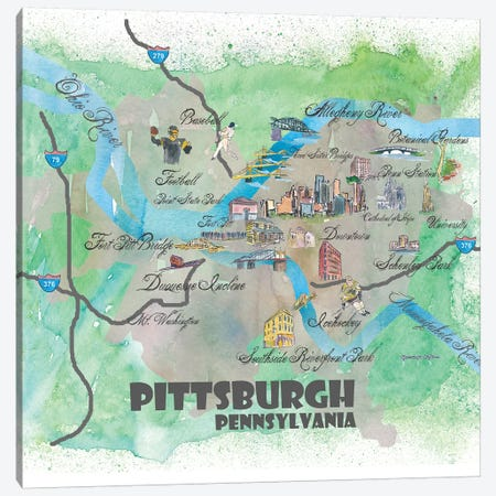 Pittsburgh, Pennsylvania Travel Poster Canvas Print #MMB31} by Markus & Martina Bleichner Canvas Wall Art