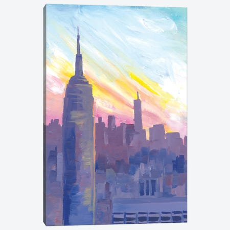 Empire State Building During Sunset With Manhattan Overlook Canvas Print #MMB320} by Markus & Martina Bleichner Canvas Wall Art