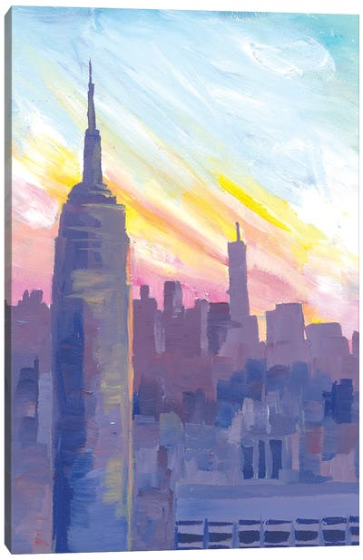Empire State Building During Sunset With Manhattan Overlook Canvas Art Print