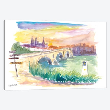 Camino To Santiago Puente De La Reina With Signpost Canvas Print #MMB321} by Markus & Martina Bleichner Canvas Wall Art