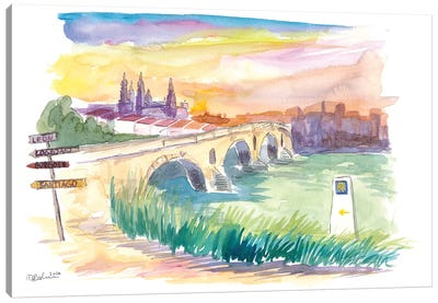 Camino To Santiago Puente De La Reina With Signpost Canvas Art Print