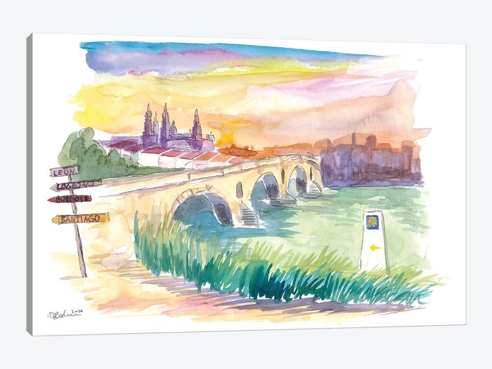 Camino To Santiago Puente De La Reina With Signpost by Markus & Martina Bleichner 1-piece Canvas Wall Art