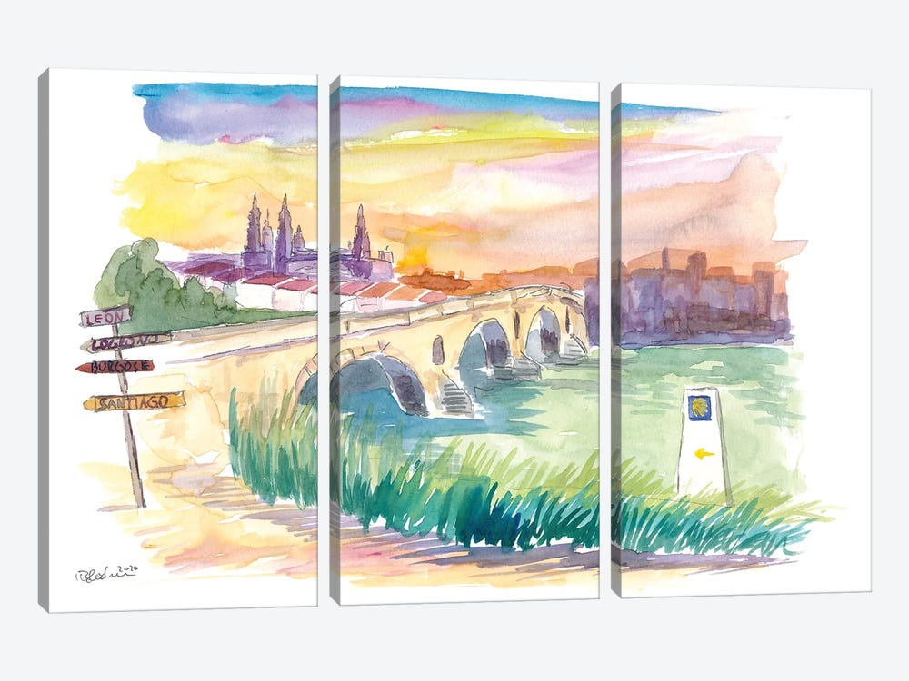 Camino To Santiago Puente De La Reina With Signpost by Markus & Martina Bleichner 3-piece Canvas Wall Art