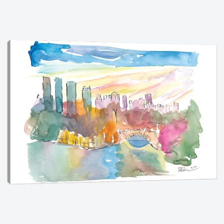 Central Park View With Manhattan Skyscrapers Canvas Print #MMB322} by Markus & Martina Bleichner Canvas Artwork