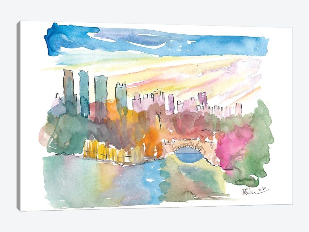Central Park View With Manhattan Skyscrapers by Markus & Martina Bleichner 1-piece Canvas Art Print