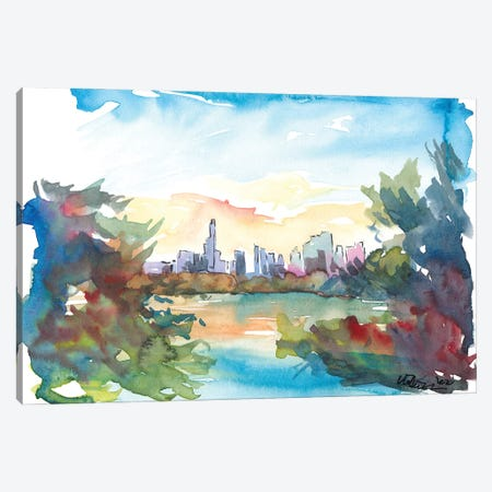 New York Skyline View From Central Park With Pond Canvas Print #MMB323} by Markus & Martina Bleichner Canvas Artwork