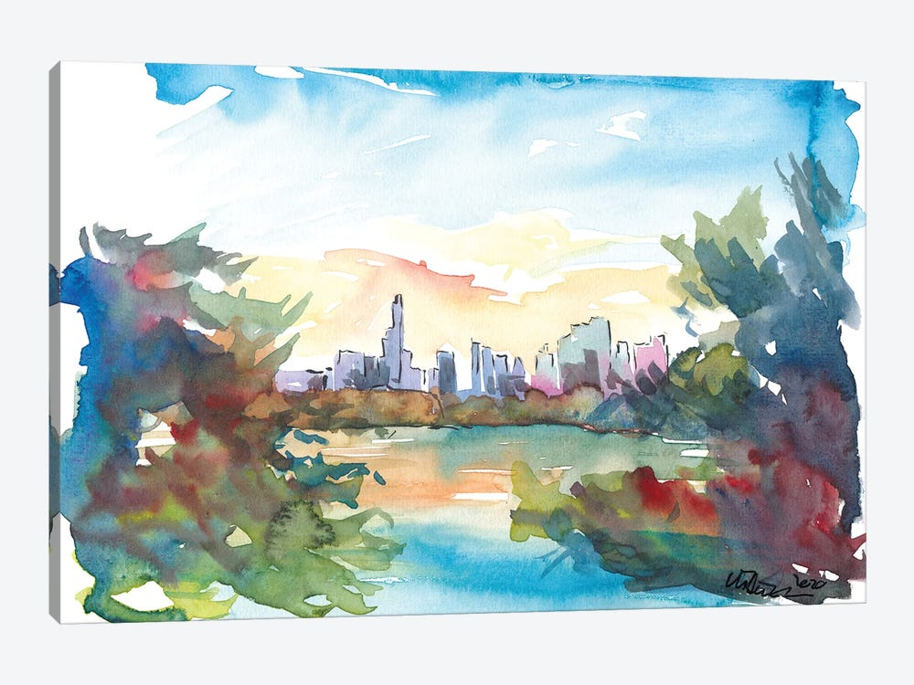 New York Skyline View From Central Park With Pond by Markus & Martina Bleichner 1-piece Canvas Wall Art