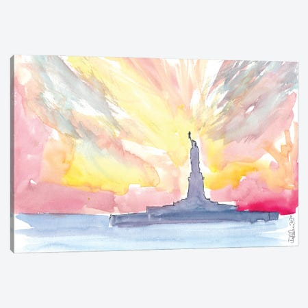 Statue Of Liberty At Sunset Canvas Print #MMB324} by Markus & Martina Bleichner Canvas Print
