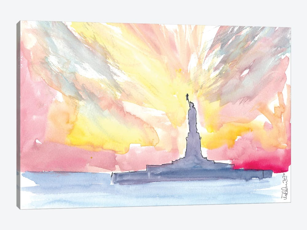 Statue Of Liberty At Sunset by Markus & Martina Bleichner 1-piece Canvas Print