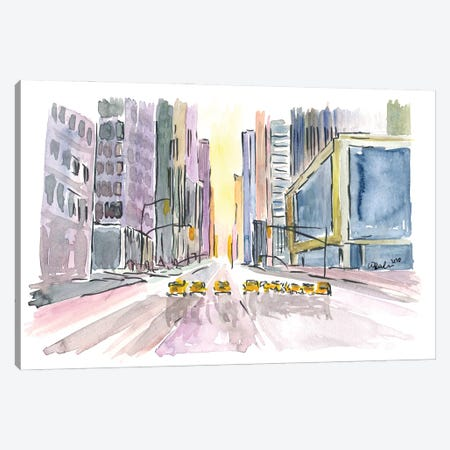 Street Canyon In Manhattan Nyc With Cabs Canvas Print #MMB325} by Markus & Martina Bleichner Canvas Art Print