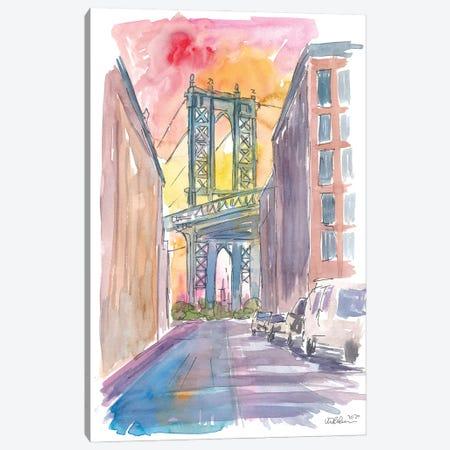 Very Special View To Manhattan Bridge New York At Sunset Canvas Print #MMB326} by Markus & Martina Bleichner Canvas Print