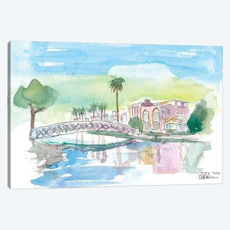 Venice Beach California Tropical Canal Scene Canvas Print #MMB328} by Markus & Martina Bleichner Canvas Wall Art