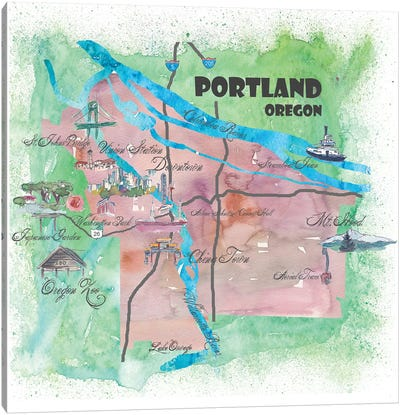 Portland, Oregon Travel Poster Canvas Art Print