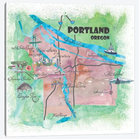 Portland, Oregon Travel Poster Canvas Print #MMB32} by Markus & Martina Bleichner Canvas Artwork