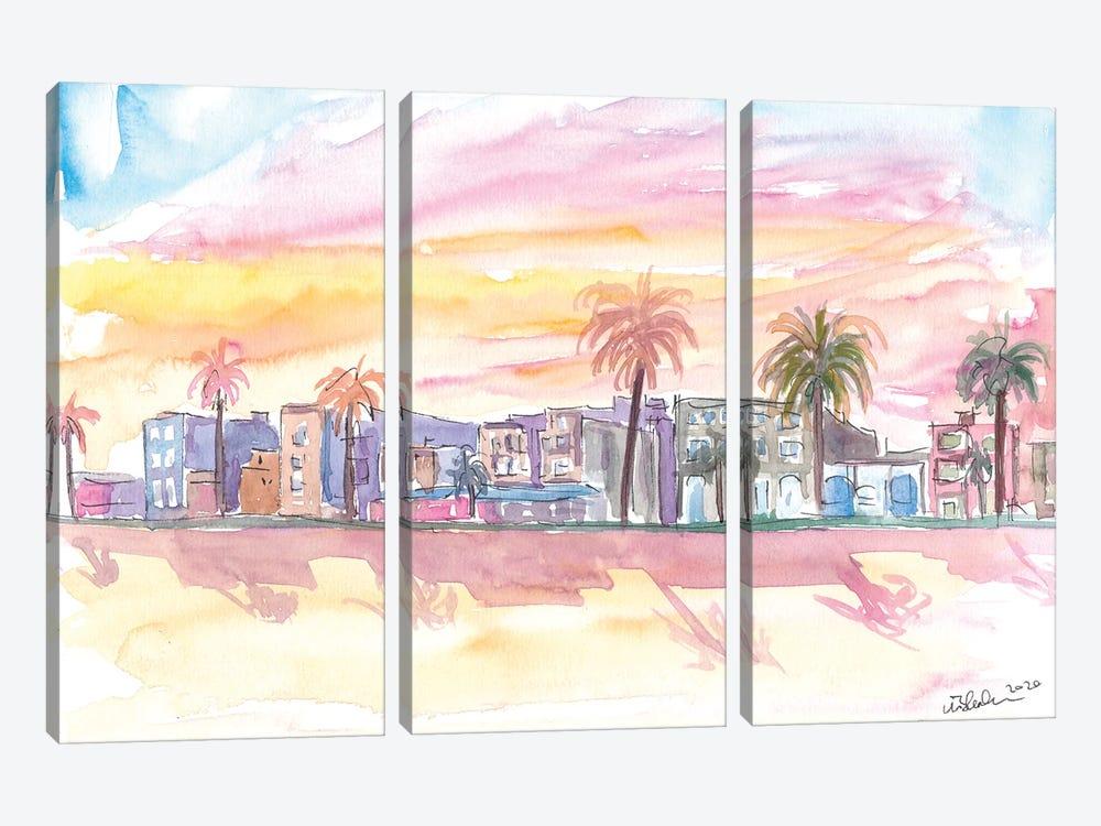 Venice Beach California Waterfront View At Sunset by Markus & Martina Bleichner 3-piece Canvas Wall Art