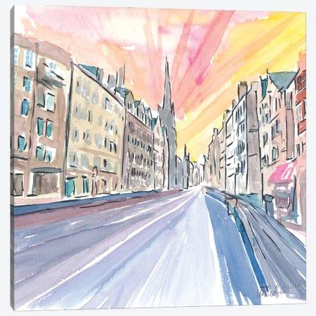 Edinburgh Scotland Street Scene With Church Canvas Print #MMB333} by Markus & Martina Bleichner Art Print