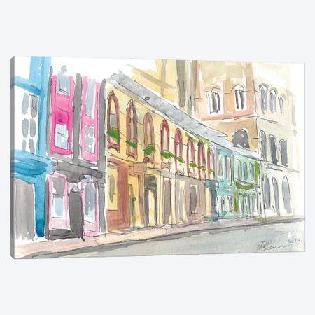 Edinburgh Scotland Street Scene With Shops Canvas Print #MMB334} by Markus & Martina Bleichner Canvas Art