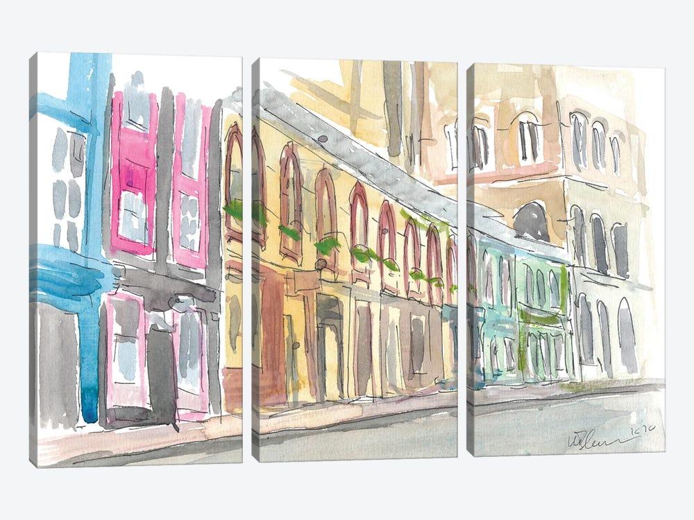 Edinburgh Scotland Street Scene With Shops by Markus & Martina Bleichner 3-piece Canvas Wall Art
