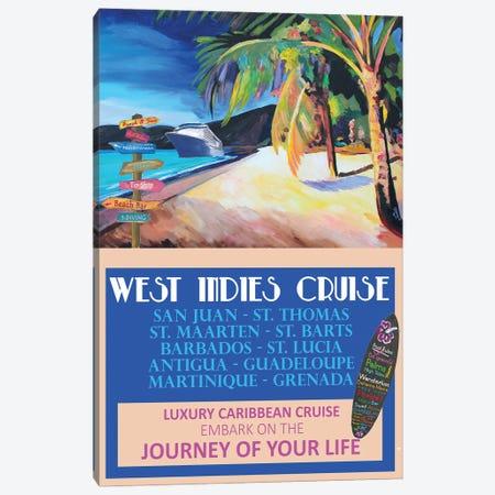 West Indies Cruise Retro Travel Poster Canvas Print #MMB335} by Markus & Martina Bleichner Canvas Art