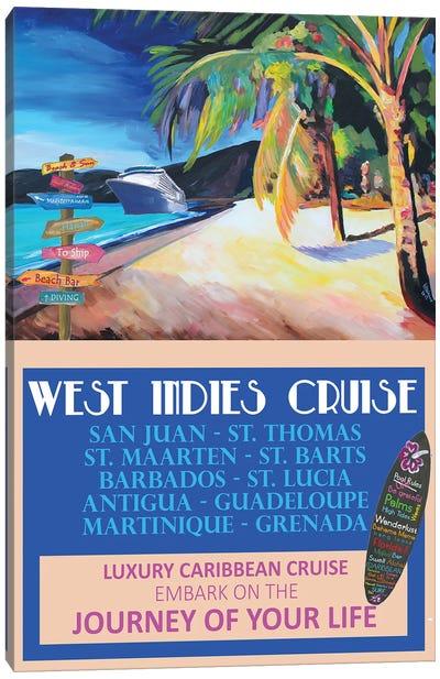 West Indies Cruise Retro Travel Poster Canvas Art Print