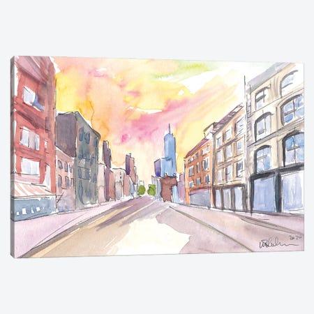 Manhattan Street Scene With Skyscraper Canvas Print #MMB336} by Markus & Martina Bleichner Canvas Artwork