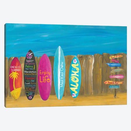The Summer and Palms Surfboard Beach Wall Canvas Print #MMB339} by Markus & Martina Bleichner Canvas Art Print