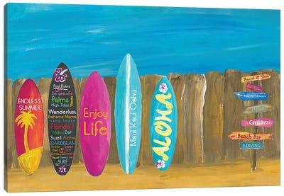 The Summer and Palms Surfboard Beach Wall Canvas Art Print
