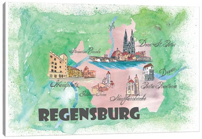 Regensburg, Germany Travel Poster Canvas Art Print