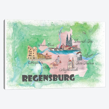 Regensburg, Germany Travel Poster Canvas Print #MMB33} by Markus & Martina Bleichner Canvas Artwork