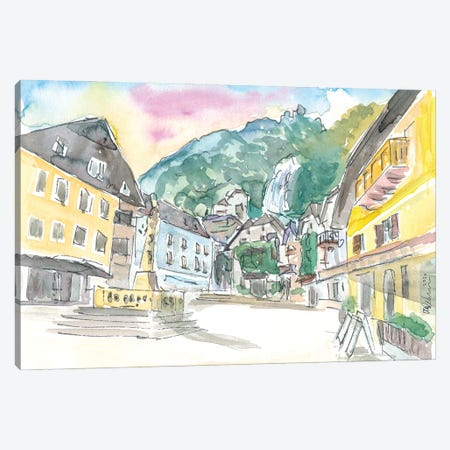 Hallstatt Romantic Market Place with Mountain and Waterfall Sound Canvas Print #MMB340} by Markus & Martina Bleichner Canvas Wall Art