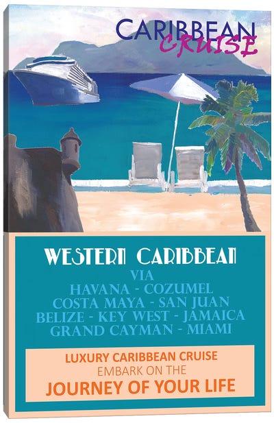 Western Caribbean Cruise Retro Travel Poster II Canvas Art Print
