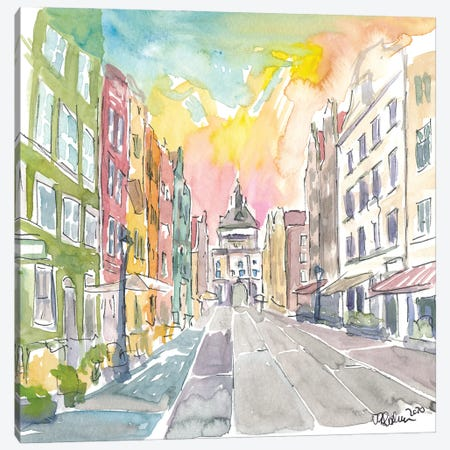 Long Street with Golden Gate in Gdansk Poland Canvas Print #MMB342} by Markus & Martina Bleichner Canvas Artwork